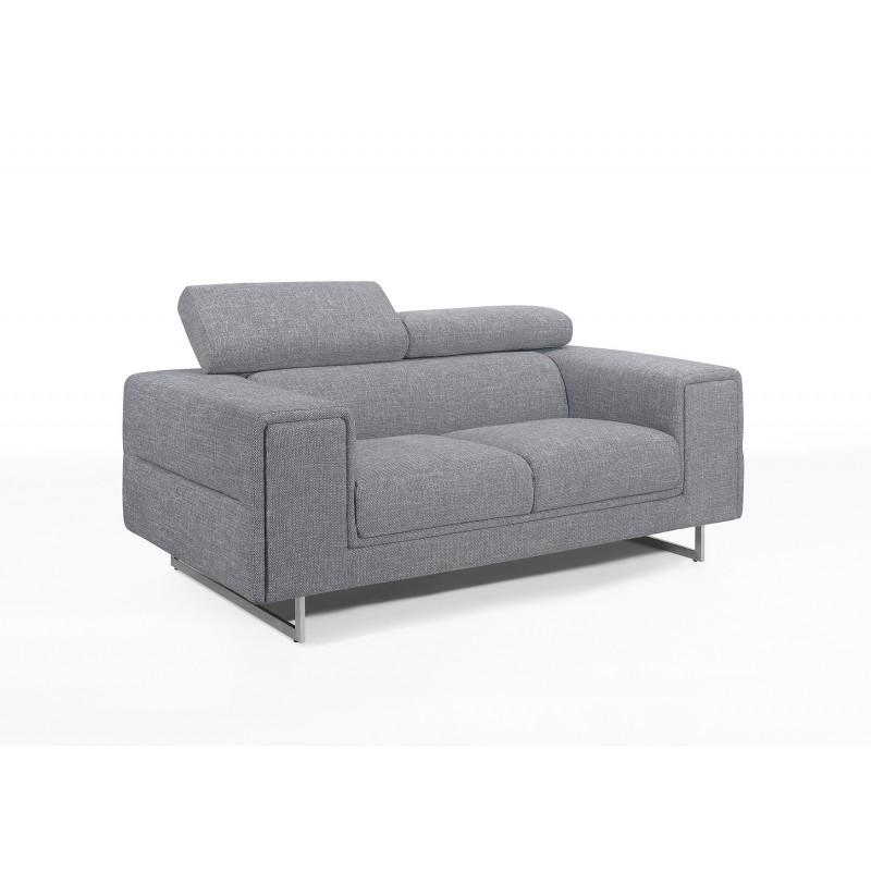Sofá recto de diseño de 2 plazas con cabezales de tela CYPRIA (gris) - image 50116