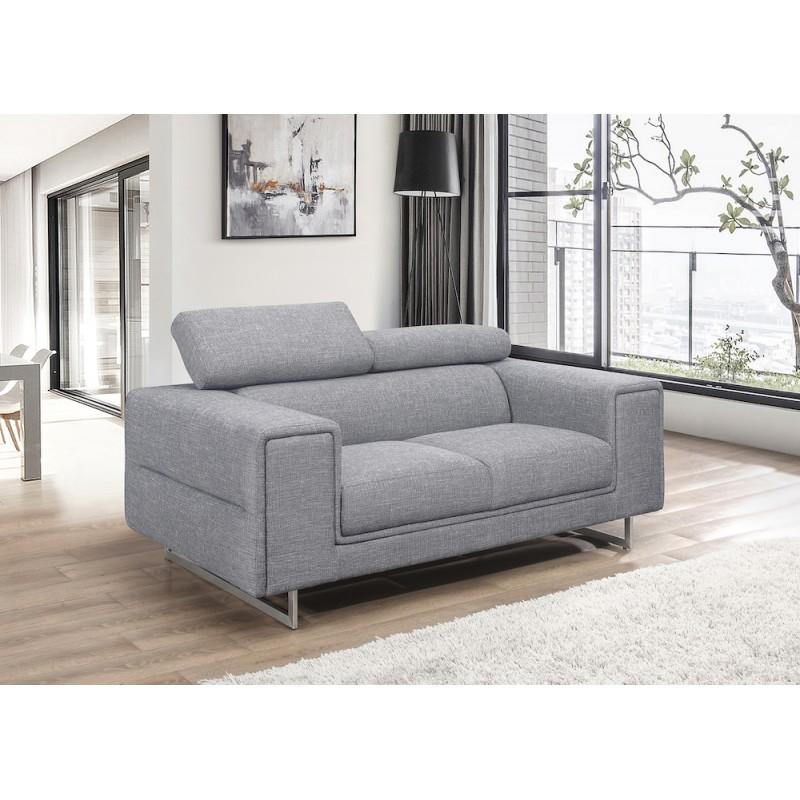 Canapé droit design 2 places avec têtières CYPRIA en tissu (gris) - image 50118