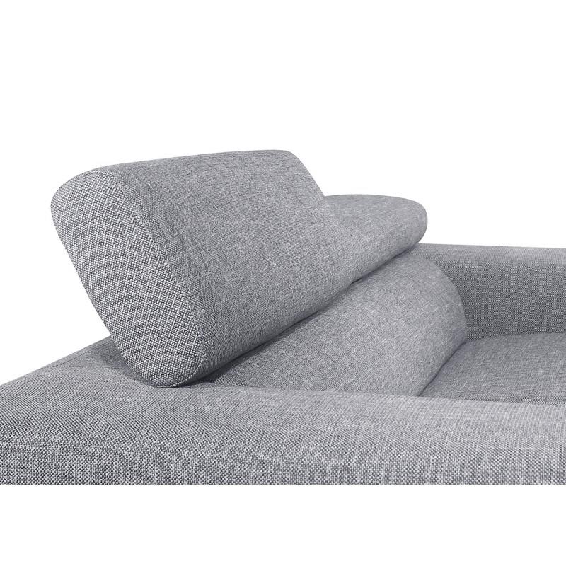 Canapé droit design 2 places avec têtières CYPRIA en tissu (gris) - image 50121