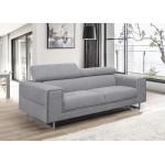 Canapé droit design 3 places avec têtières CYPRIA en tissu (gris)