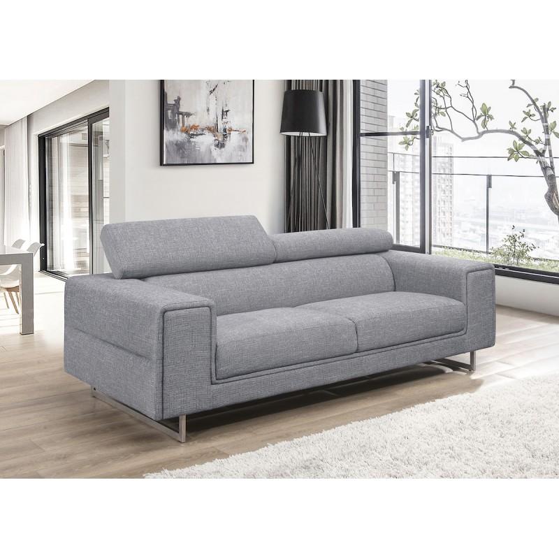 Canapé droit design 3 places avec têtières CYPRIA en tissu (gris) - image 50130