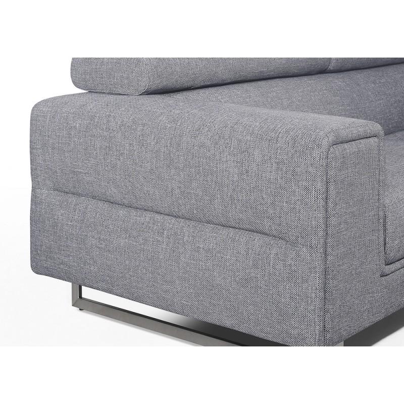 Canapé droit design 3 places avec têtières CYPRIA en tissu (gris) - image 50136