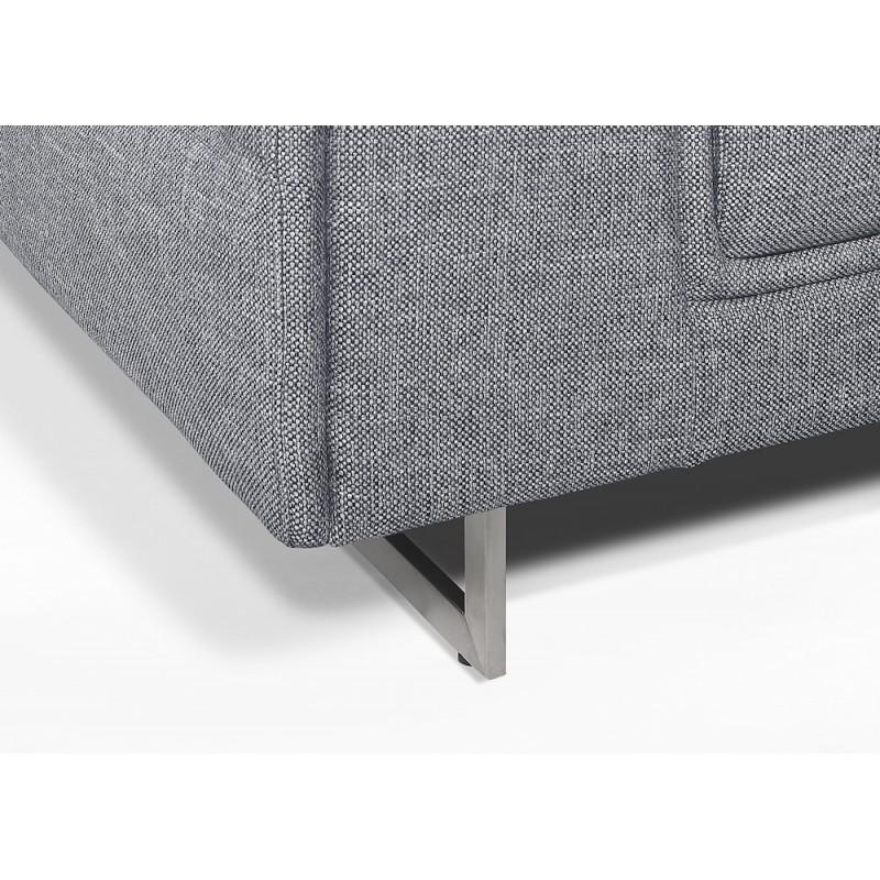 Canapé droit design 3 places avec têtières CYPRIA en tissu (gris) - image 50138