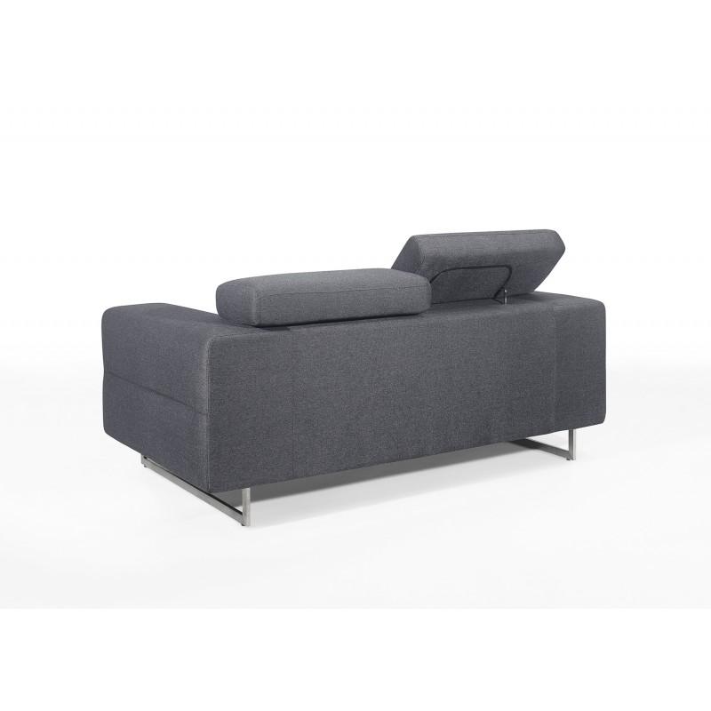 Canapé droit design 2 places avec têtières CYPRIA en tissu (gris foncé) - image 50141