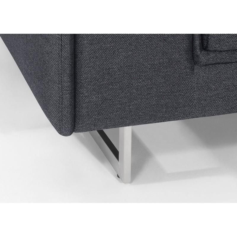 Canapé droit design 3 places avec têtières CYPRIA en tissu (gris foncé) - image 50174