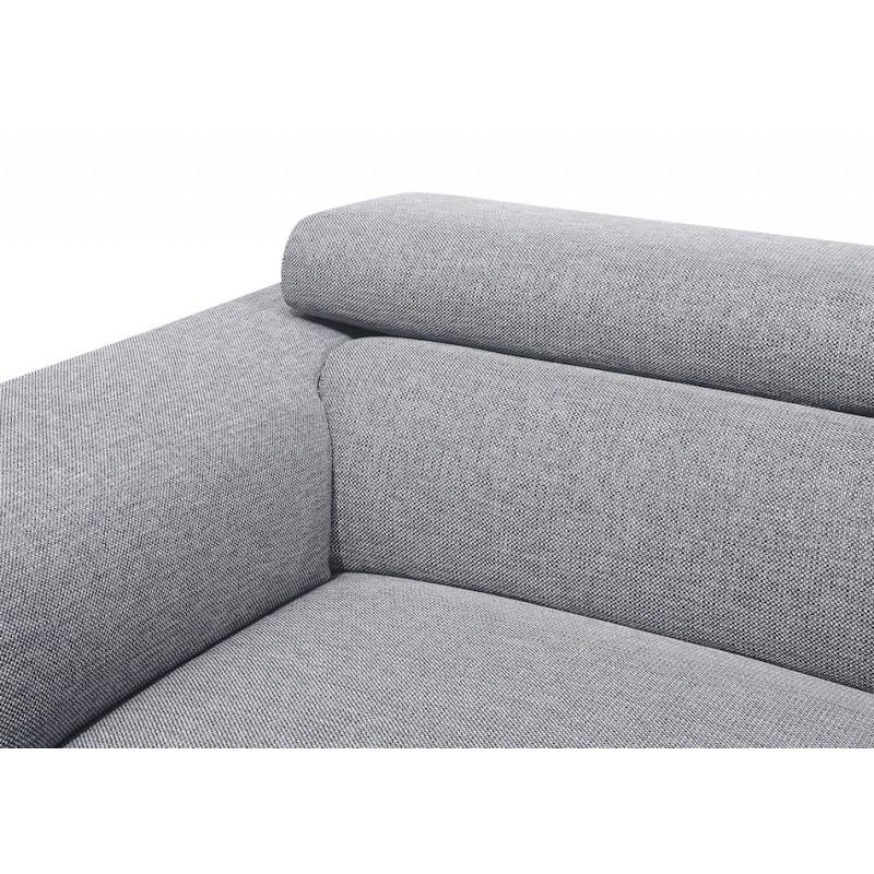 Canapé d'angle design 3-5 places avec appuis-tête LESLIE en tissu  - Angle Droit (gris) - image 50195