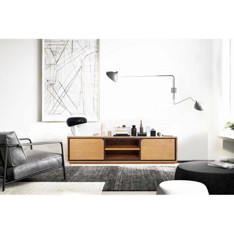 Solid teak TV furniture 2 doors 2 niches JENNA (150 cm) (natural) - image 50276