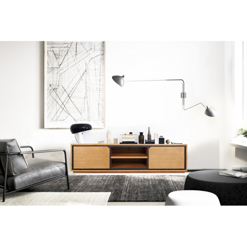 Muebles de TV de teca maciza 2 puertas 2 nichos JENNA (150 cm) (natural) - image 50276