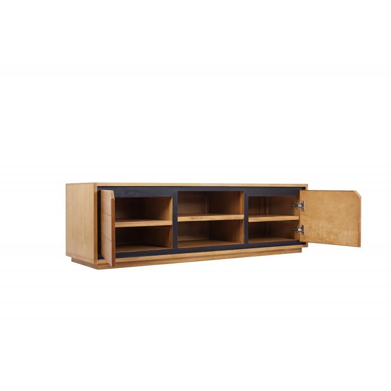 Solid teak TV furniture 2 doors 2 niches JENNA (150 cm) (natural) - image 50278