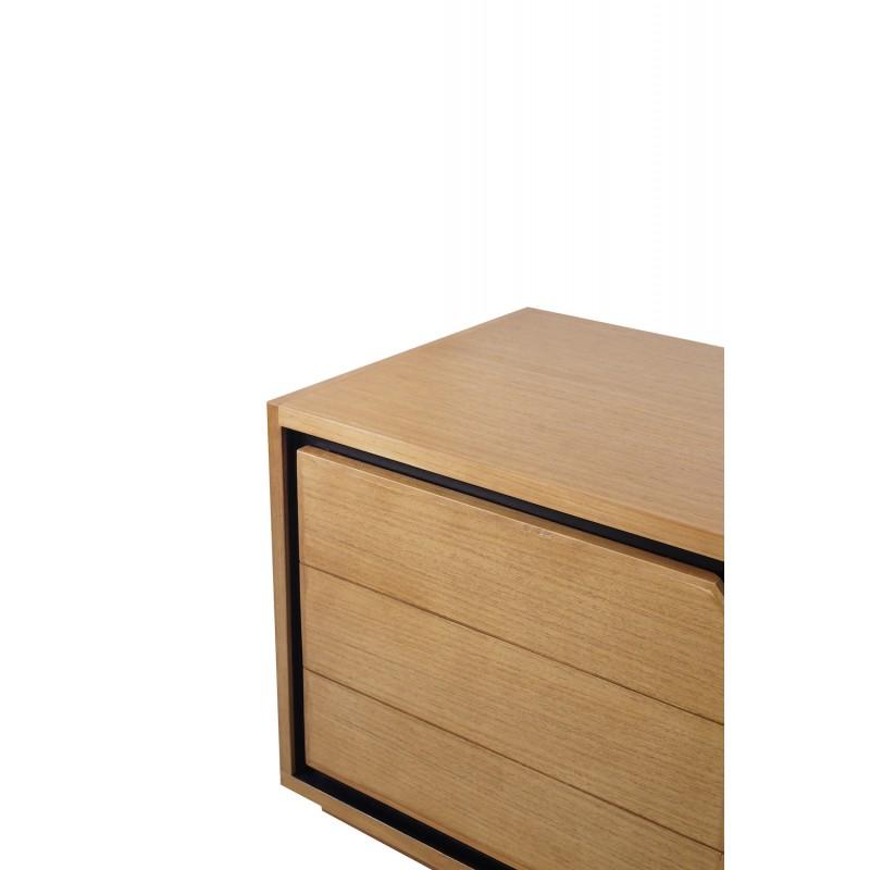 Muebles de TV de teca maciza 2 puertas 2 nichos JENNA (150 cm) (natural) - image 50280