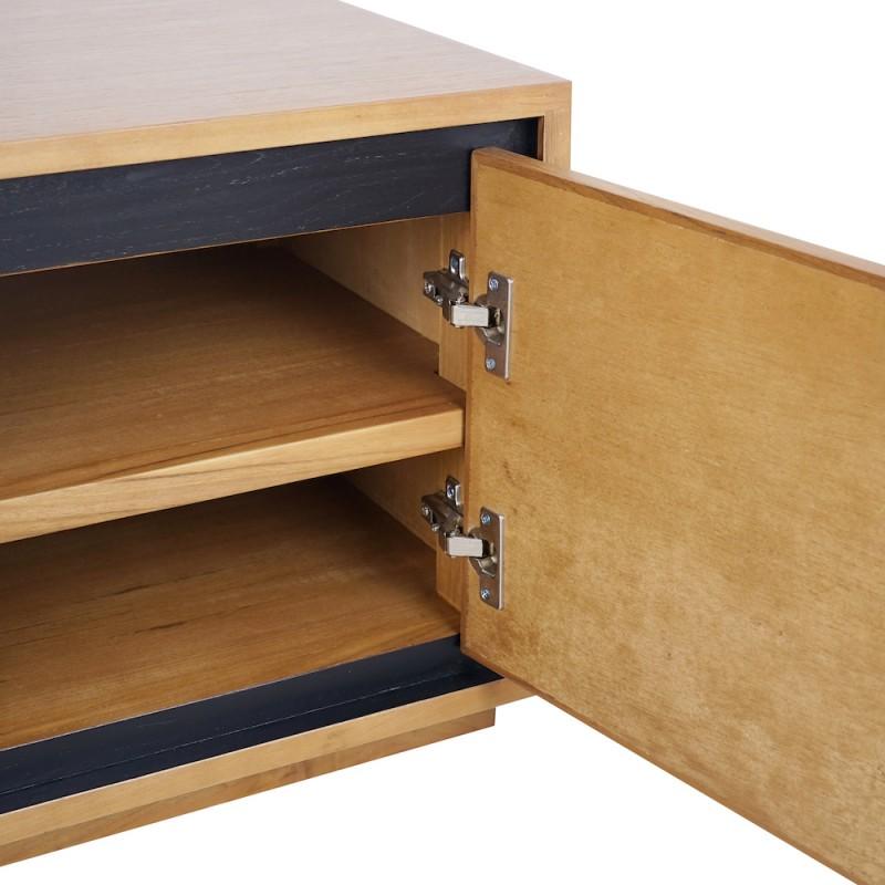 Solid teak TV furniture 2 doors 2 niches JENNA (150 cm) (natural) - image 50283