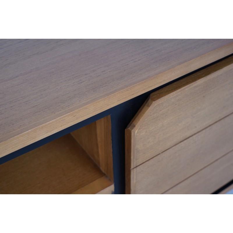 Solid teak TV furniture 2 doors 2 niches JENNA (150 cm) (natural) - image 50285
