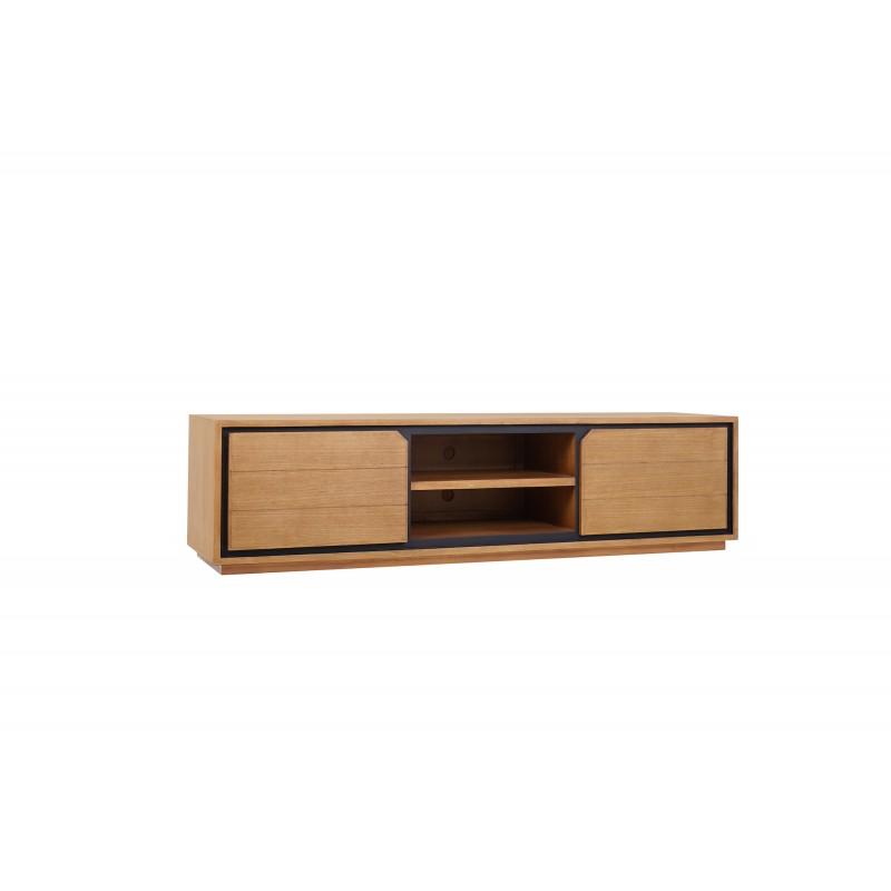 Muebles de TV de teca maciza 2 puertas 2 nichos JENNA (200 cm) (natural) - image 50299