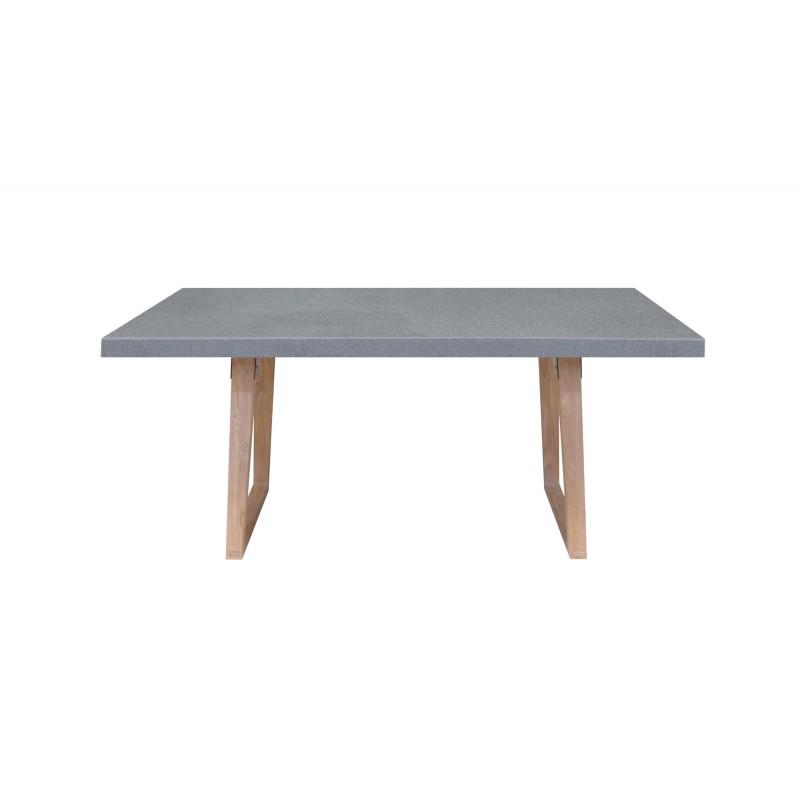 Table à manger design pieds teck massif OXANA (200 cm) (gris) - image 50313