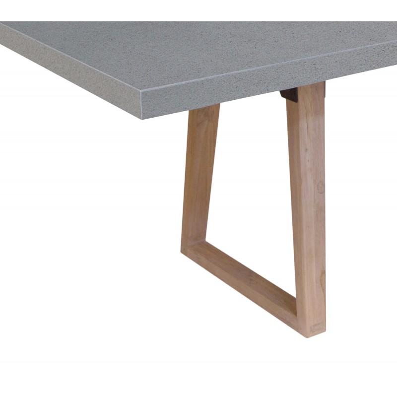 Design Esstisch OXANA Massiv Teakfuß (200 cm) (grau) - image 50316