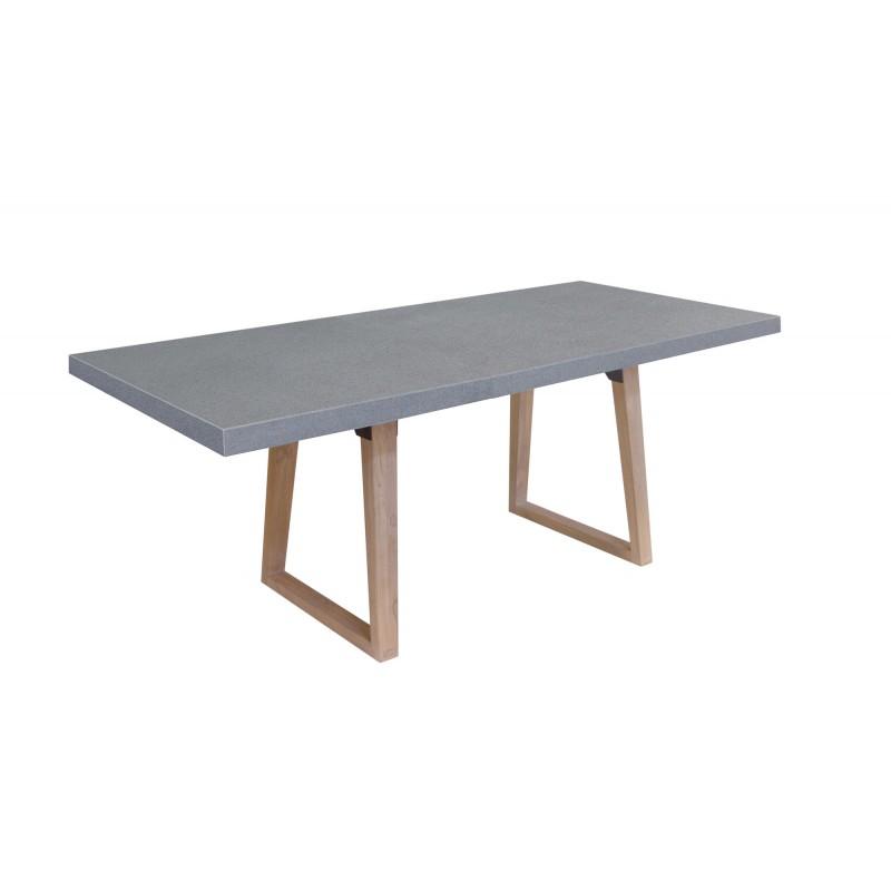 Table à manger design pieds teck massif OXANA (180 cm) (gris) - image 50320