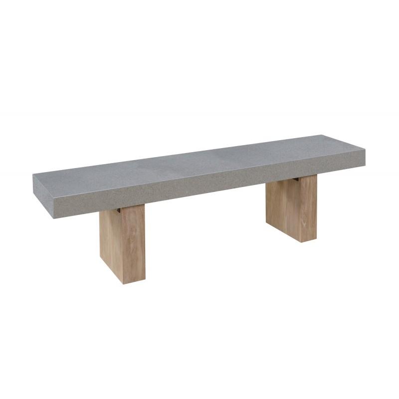 Banco de diseño de pie de teca maciza OXANA (160 cm) (gris) - image 50327