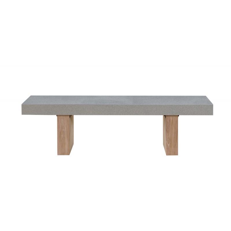 Banco de diseño de pie de teca maciza OXANA (160 cm) (gris) - image 50328