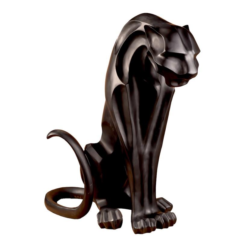 Statue sculpture décorative design PANTHERE ORIGAMI (H100 cm) (Canon de fusil) - image 50387