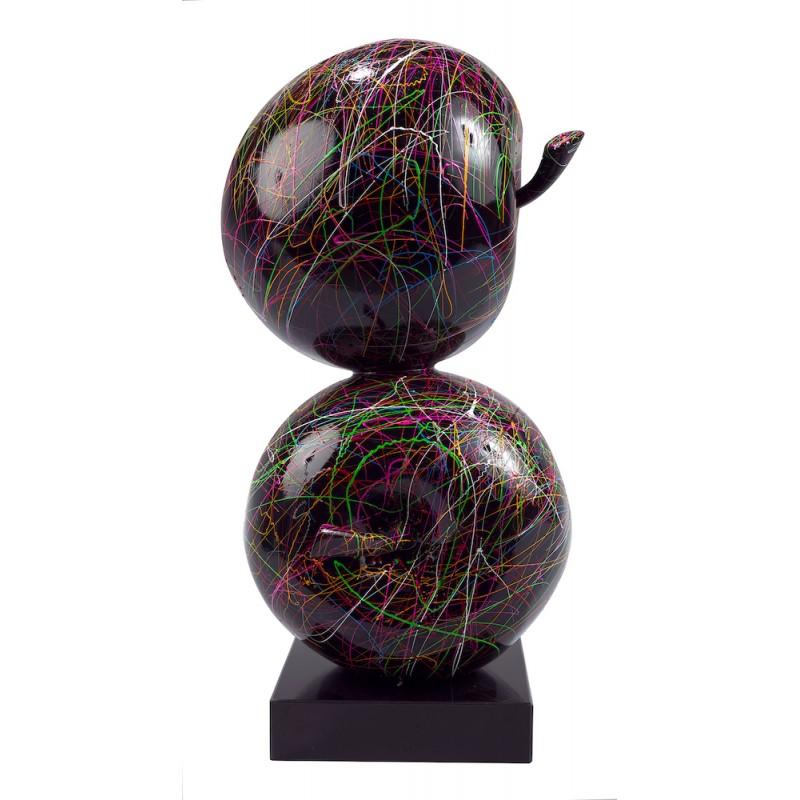 Statue sculpture décorative design DUO POMMES (H55 cm) (noir) - image 50409
