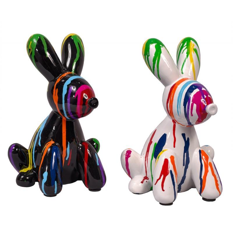 Statue sculpture décorative design DUO CHIENS TRASH (H25) (Multicolore)