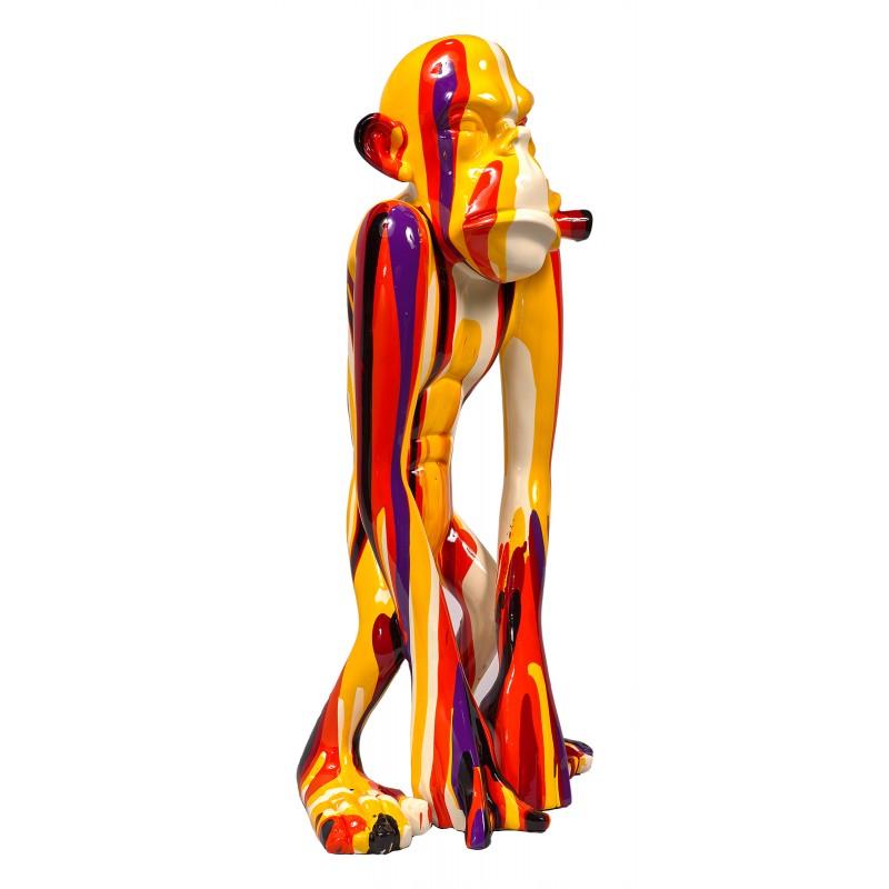 Statue sculpture décorative design SINGE TRASH (H58) (Multicolore) - image 50416
