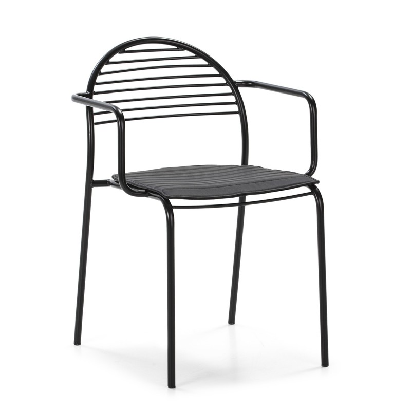 Chaise 57x55x80 Métal Noir Cuir synthétique Noir - image 50433