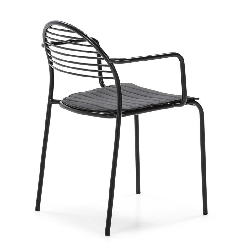Chaise 57x55x80 Métal Noir Cuir synthétique Noir - image 50435