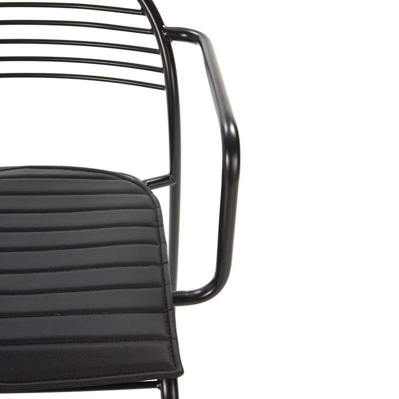 Chaise 57x55x80 Métal Noir Cuir synthétique Noir - image 50436