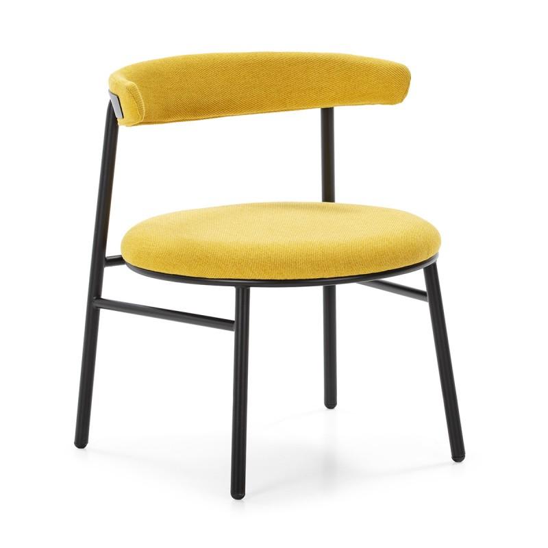 Chaise rétro 59x59x70 Métal Noir Toile Jaune