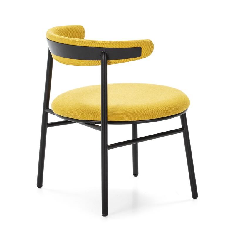 Retro Chair 59X59X70 Metal Black Fabric Yellow - image 50443