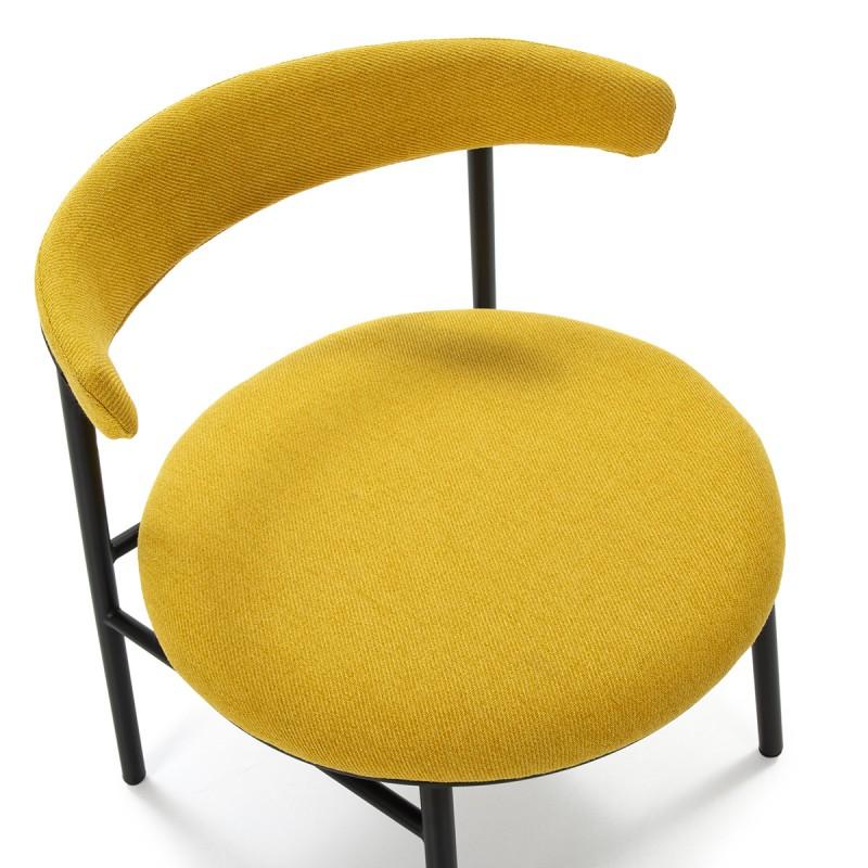 Retro Chair 59X59X70 Metal Black Fabric Yellow - image 50444