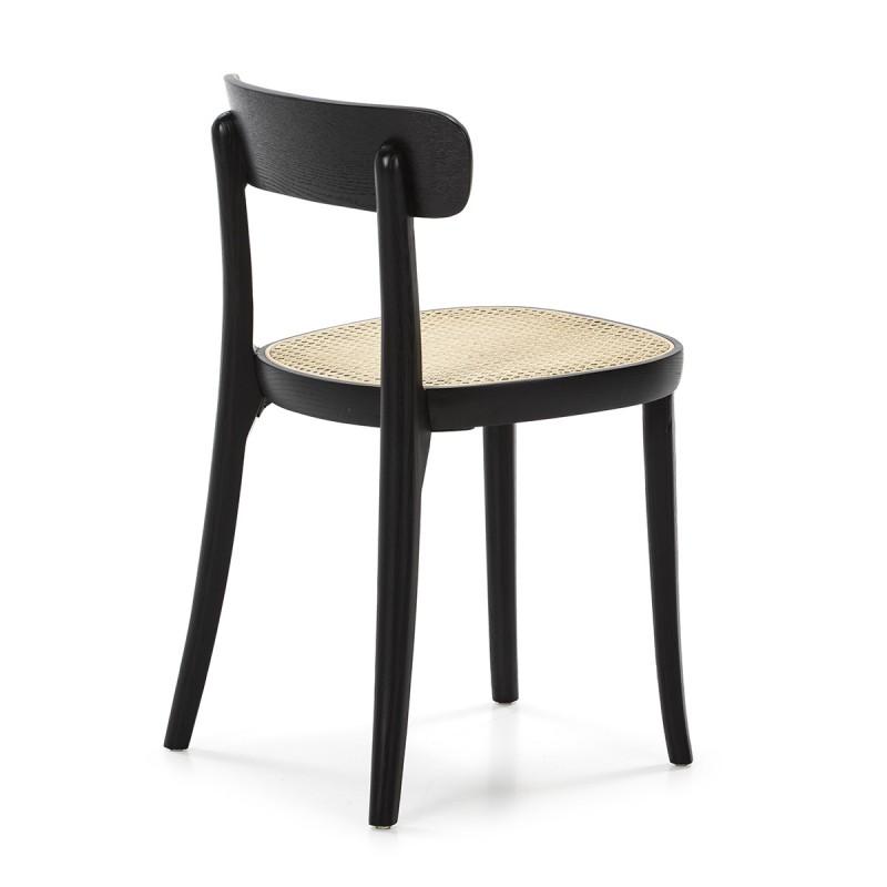 Chair 44X48X76 Wood Black Rattan Natural - image 50464