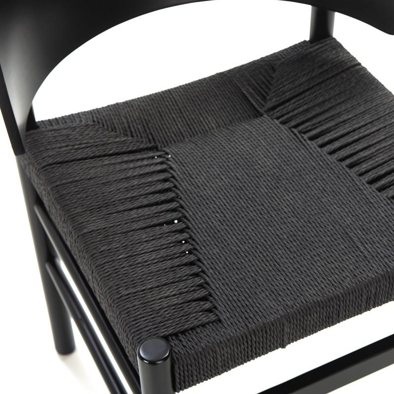 Chaise 52x56x75 Bois Corde Noir - image 50474