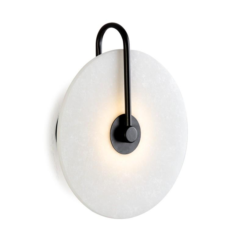 Wall Lamp 25X10X29 Marble White Metal Black
