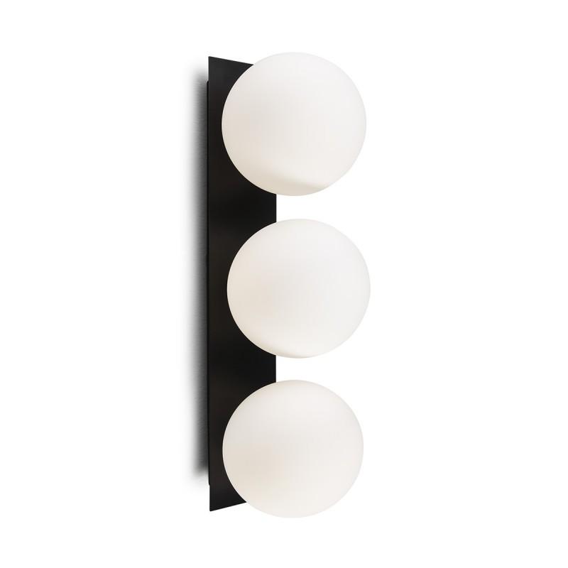 Wall Lamp 15X18X50 Glass White Metal Black - image 50581