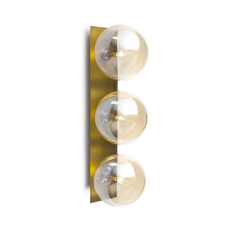 Wall Lamp 15X18X50 Glass Amber Metal Golden