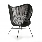 Design Armchair 83X85X113 Metal Wicker Black