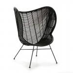 Sillon Design 83X85X113 Metal Mimbre Negro