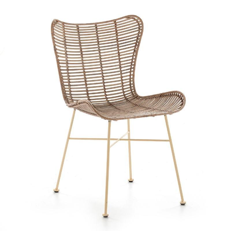 Chaise 56x51x85 Métal Osier Blanc blanchi - image 50659