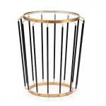 Side Table 48X48X56 Glass Metal Golden Black