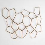 Escultura De Pared Decorativa 107X6X77 Metal Dorado