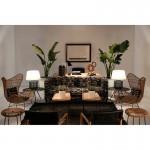 Table d'appoint, bout de canapé, bout de canapé 50x50x53 Bois Métal Noir Doré
