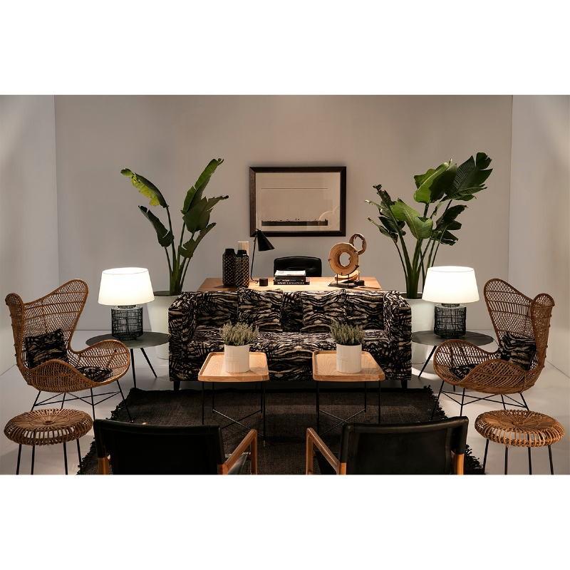 Table d'appoint, bout de canapé, bout de canapé 50x50x53 Bois Métal Noir Doré - image 50739