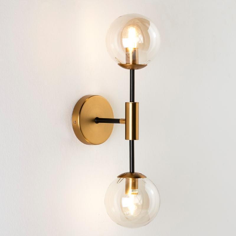Wall Lamp 13X20X50 Glass Amber Metal Golden Black