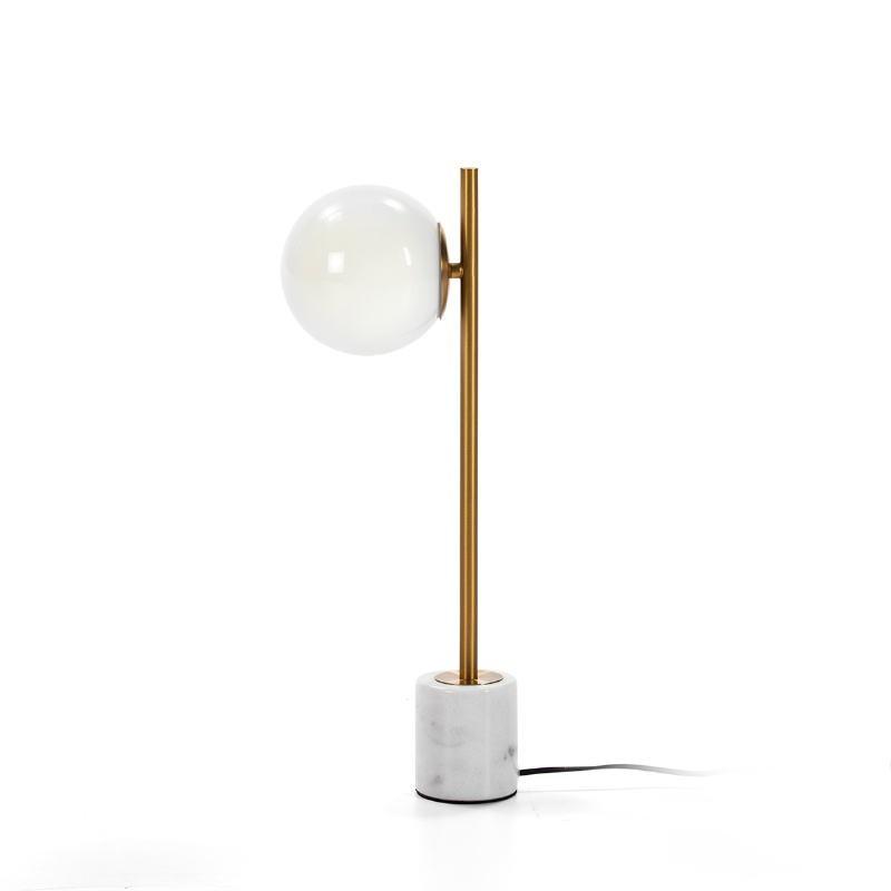 Tischlampe 21X15X55 Glas Weiß/Marmor Weiß/Metall Golden