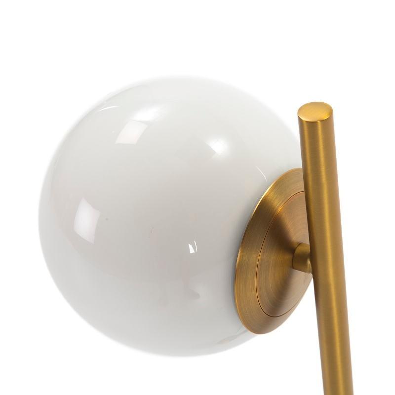 Tischlampe 21X15X55 Glas Weiß/Marmor Weiß/Metall Golden - image 50754