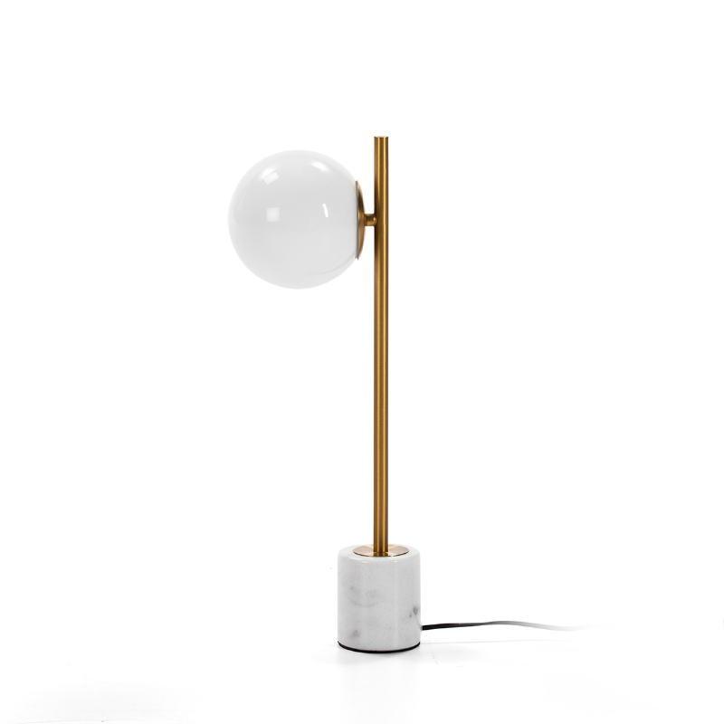 Tischlampe 21X15X55 Glas Weiß/Marmor Weiß/Metall Golden - image 50755