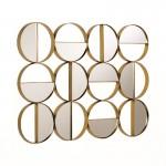 Scultura Da Parete 79X3X60 Specchio Metallo Dorato
