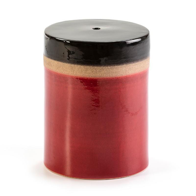 Sgabello 33X33X43 Ceramica Rosso Crema Nero